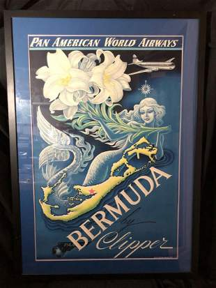 Pan Am Bermuda Travel Poster Boris Artzybashef