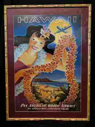"Pan American World Airways Framed Poster ""HAWAII"""