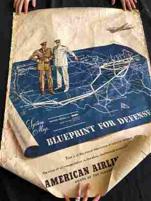 "American Airlines ""Blueprint for Defense"" Poster 1941"