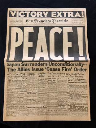 San Francisco Chronicle 1945 PEACE! Headline Newspaper
