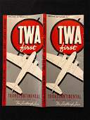 TWA System Timetable Effect September 1st Circa 1940s