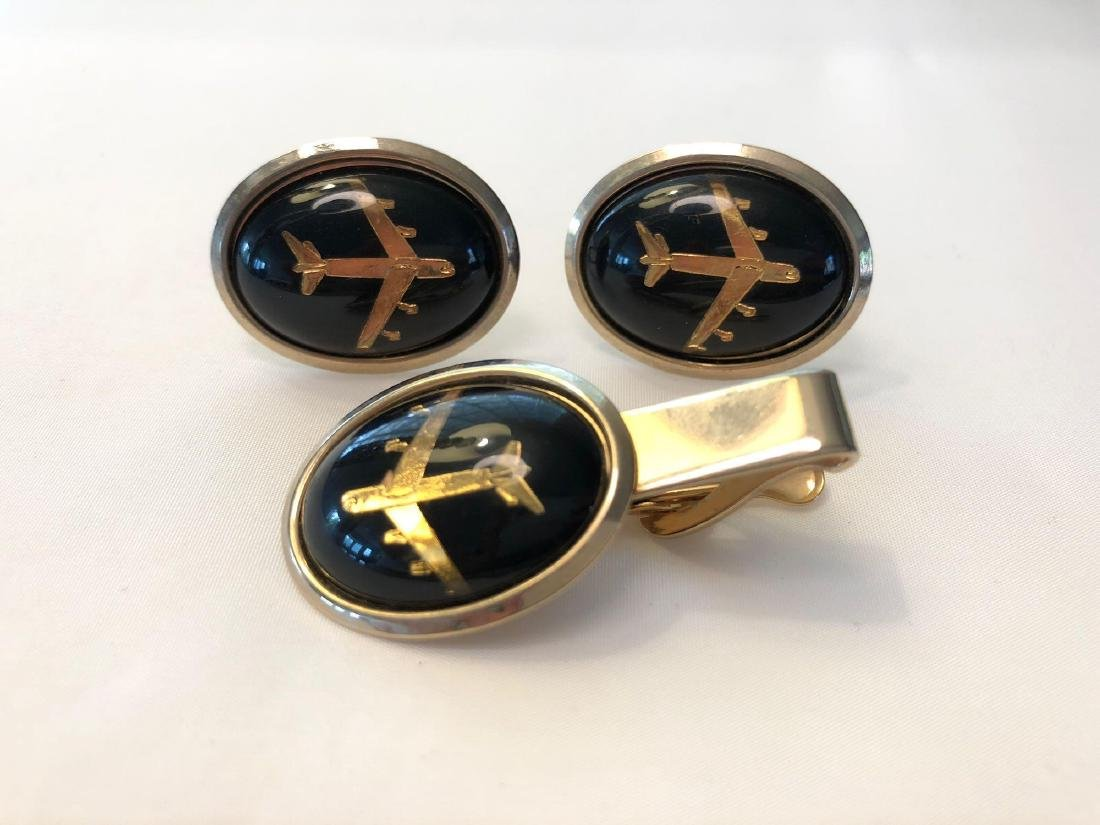 Black and Gold Airplane Cufflinks and Tie Clip