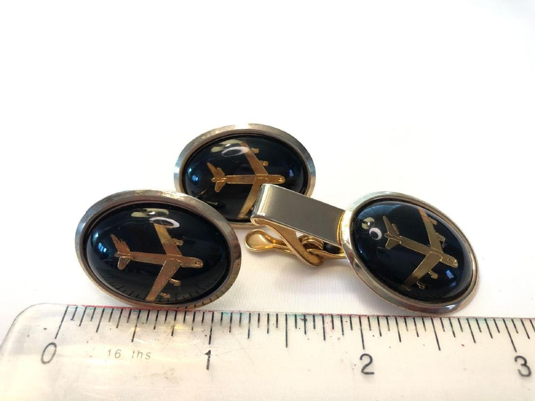 Black and Gold Airplane Cufflinks and Tie Clip - 3