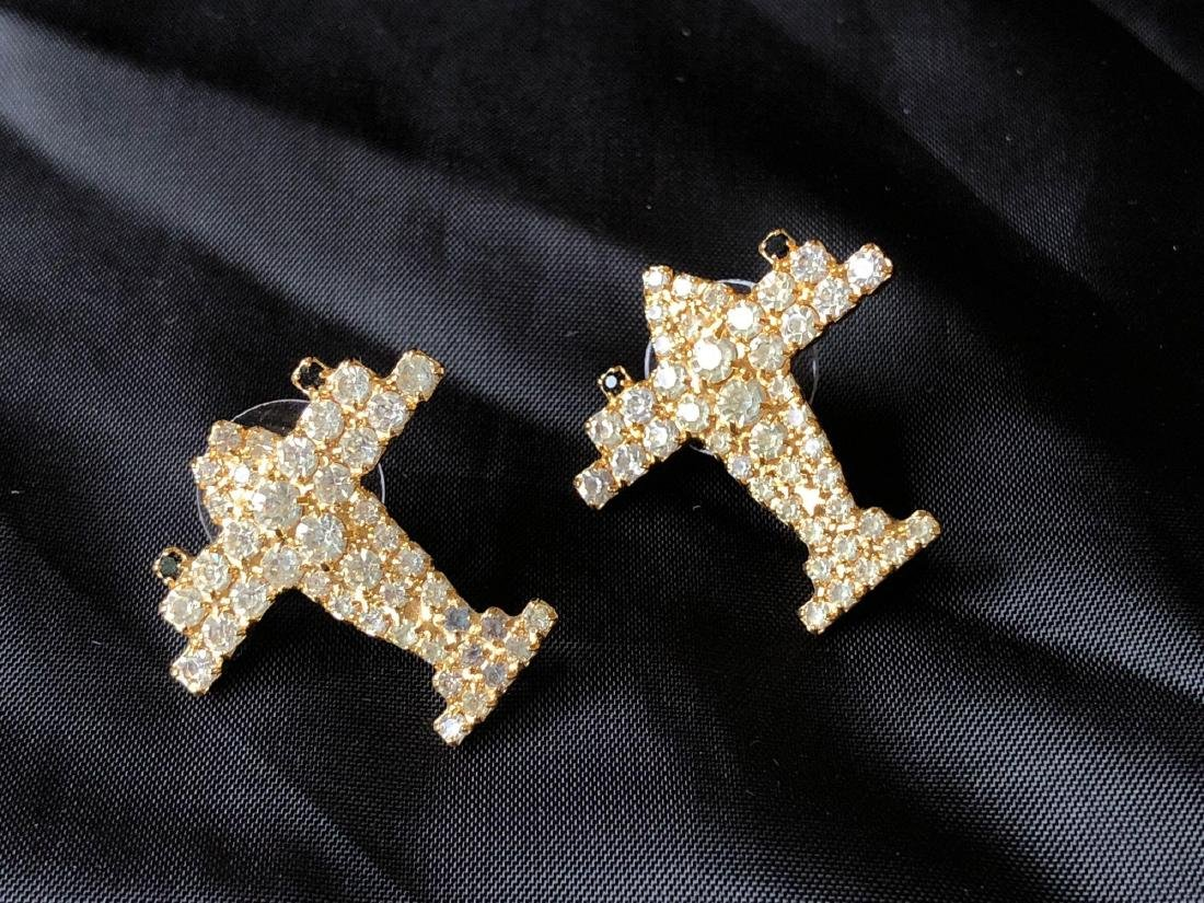 Rhinestone Airplane Earrings