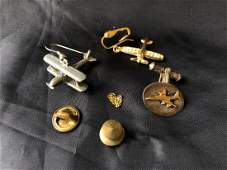 Mixed Lot of Pewter and Sterling Aviation Pieces