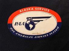 Pan American Airlines Alaska Service Luggage Sticker /