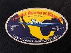 Pan American Airlines 1940's/50's Compania Mexicana Lug