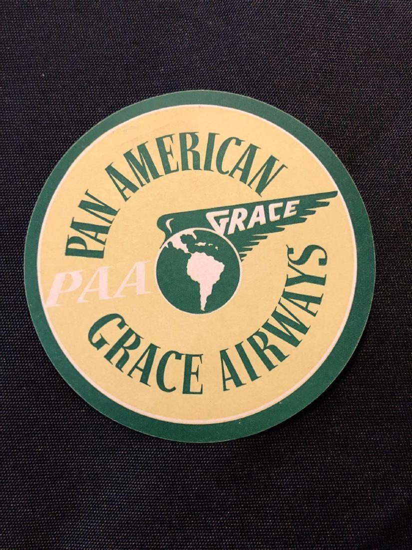 Pan American Grace Airways 1930's PAA Sticker / Decal /