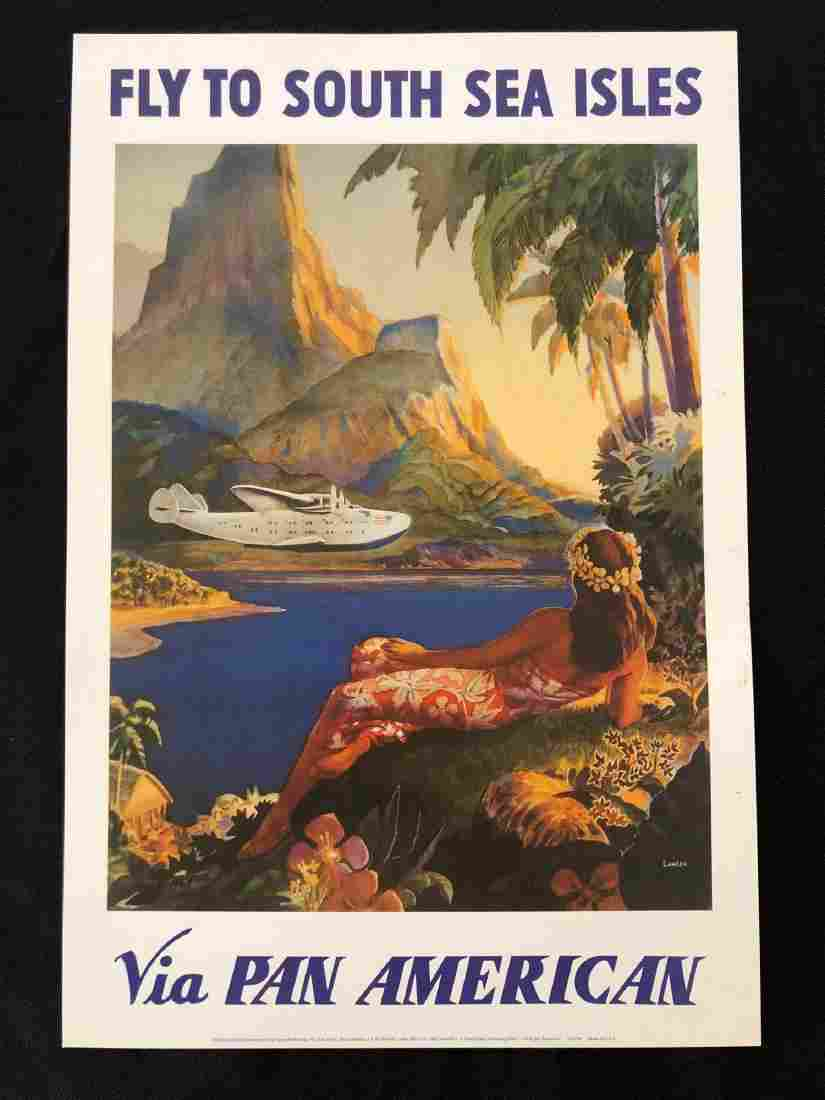 "Fly to South Sea Isles Pan American 13"" x 8 3/4"" Poster"