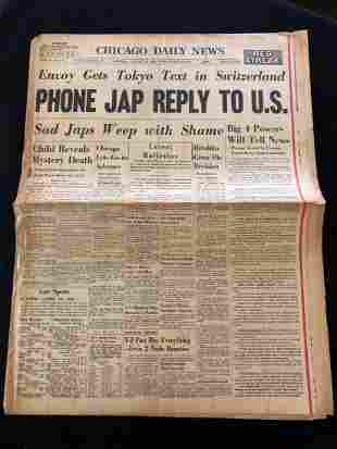 "Chicago Daily News ""Phone Jap Reply to U.S."" 1945"