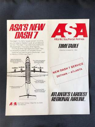 ASA Atlantic Southeast Airlines Timetable 10/30/83