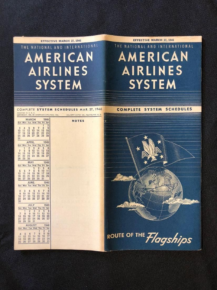 American Airlines System Timetable 3/27/46