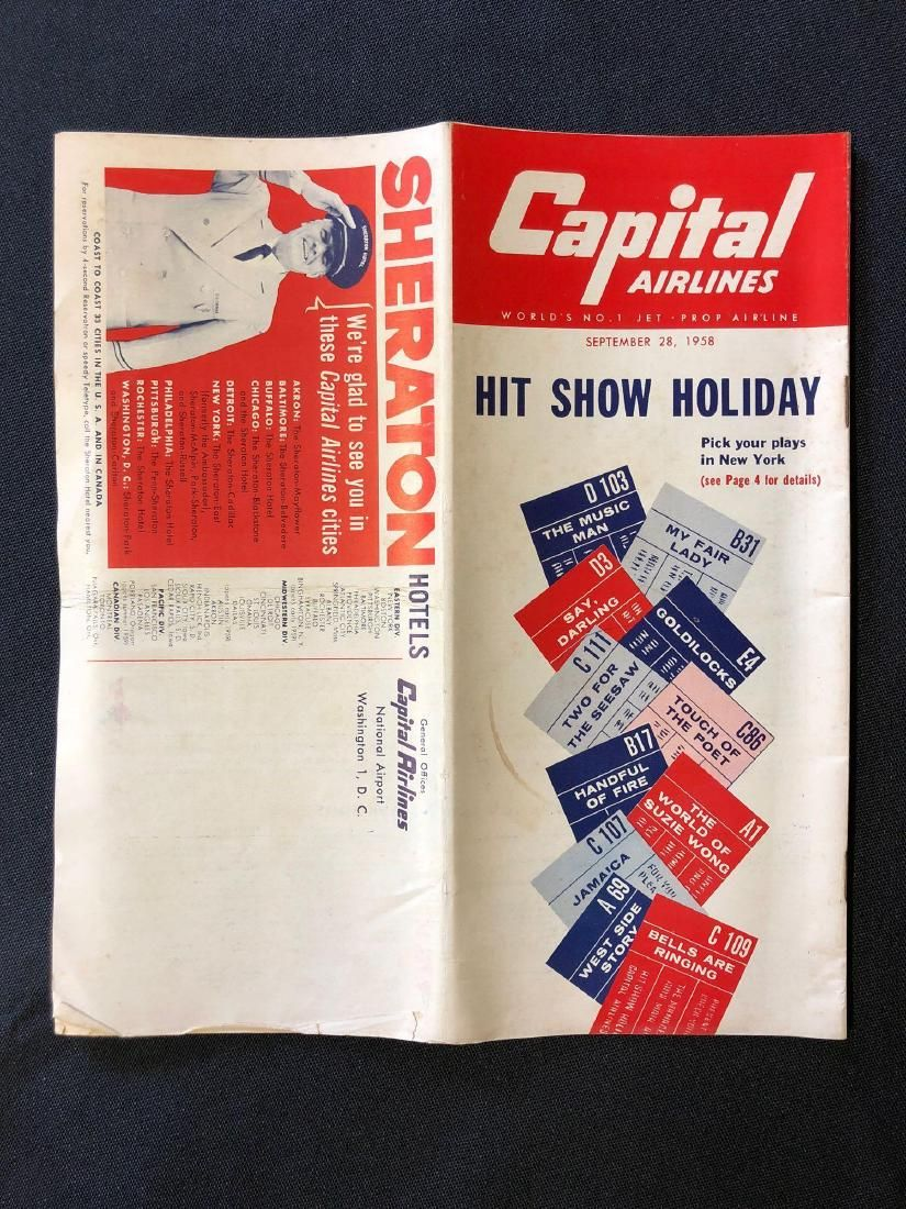 Capital Airlines System Timetable 9/28/58