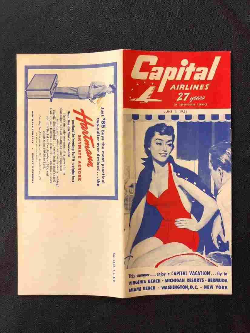 Capital Airline System Timetable 6/1/54