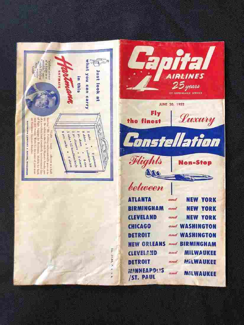 Capital Airlines System Timetable 6/20/52
