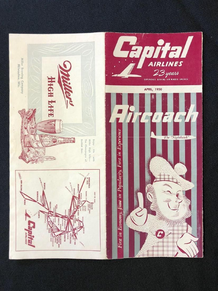 Capital Airlines System Timetable 4/1950