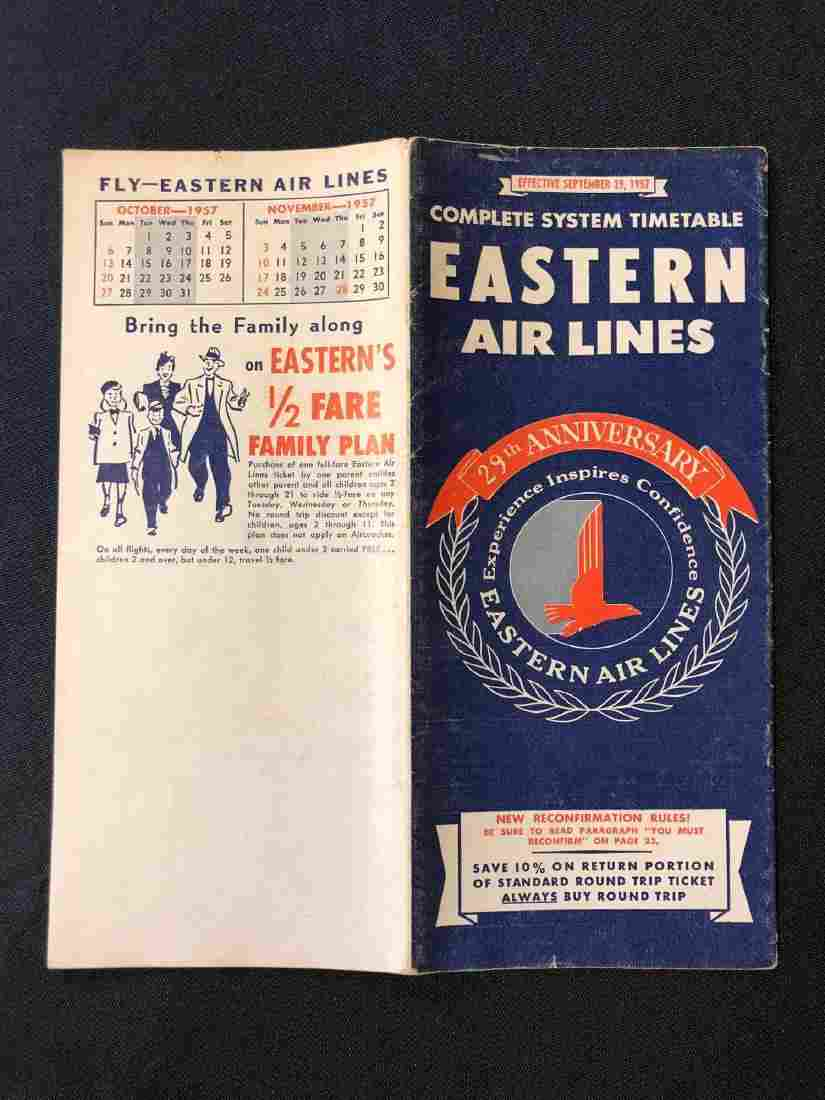 Eastern Air Lines system timetable 9/29/57