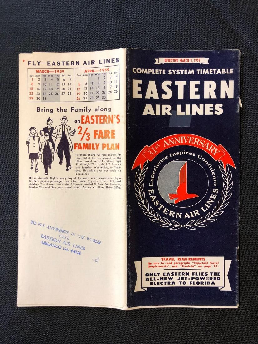 Eastern Air Lines system timetable 3/1/59