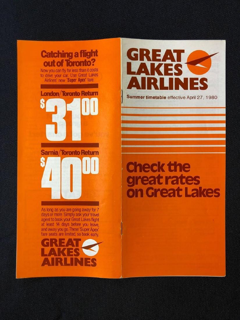 Great Lakes Airlines System Timetable 4/27/80