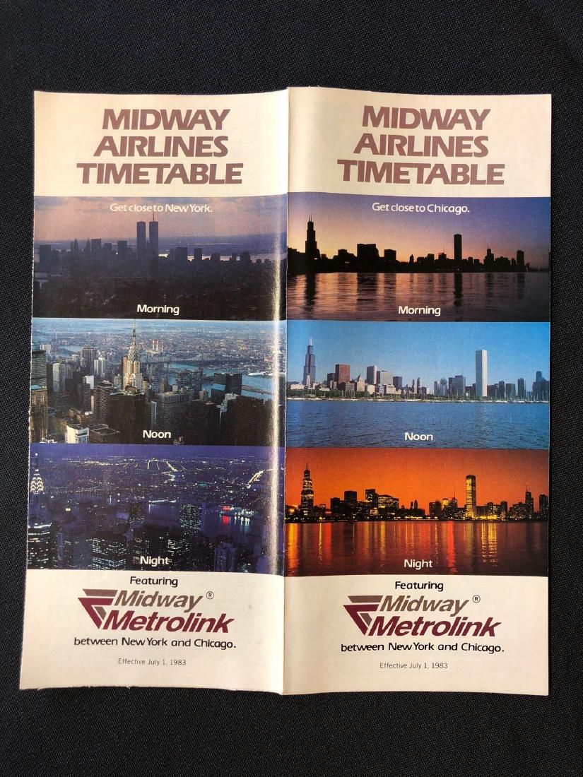 Midstate Airlines System Timetable 7/1/83
