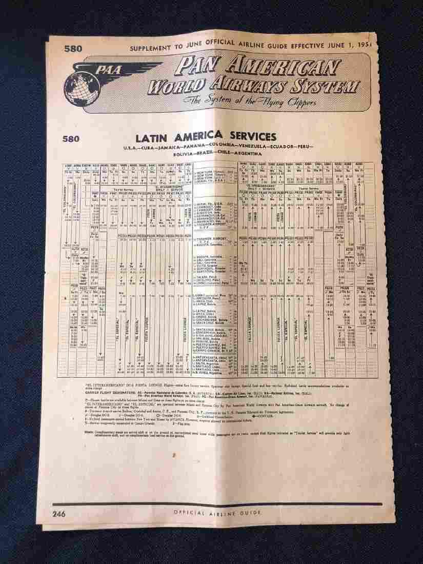 Pan American World Airways System Timetable 6/1/51 Lati
