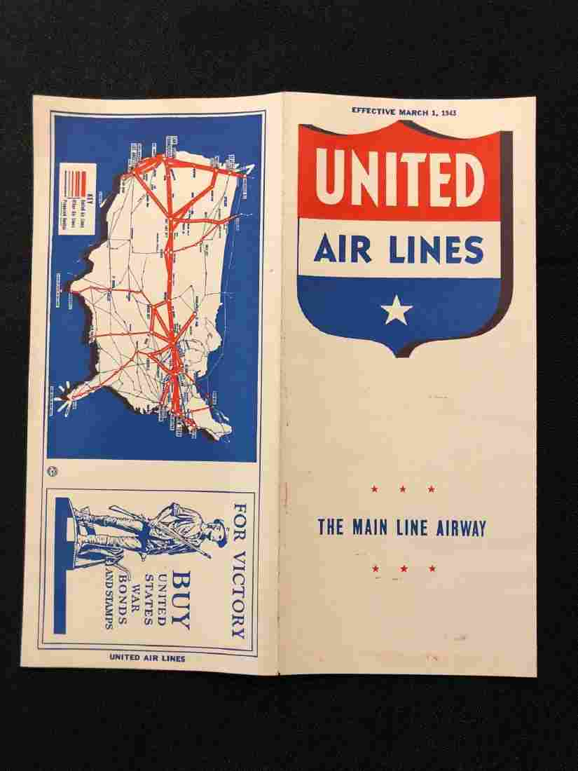 United Airlines System Timetable 3/1/43