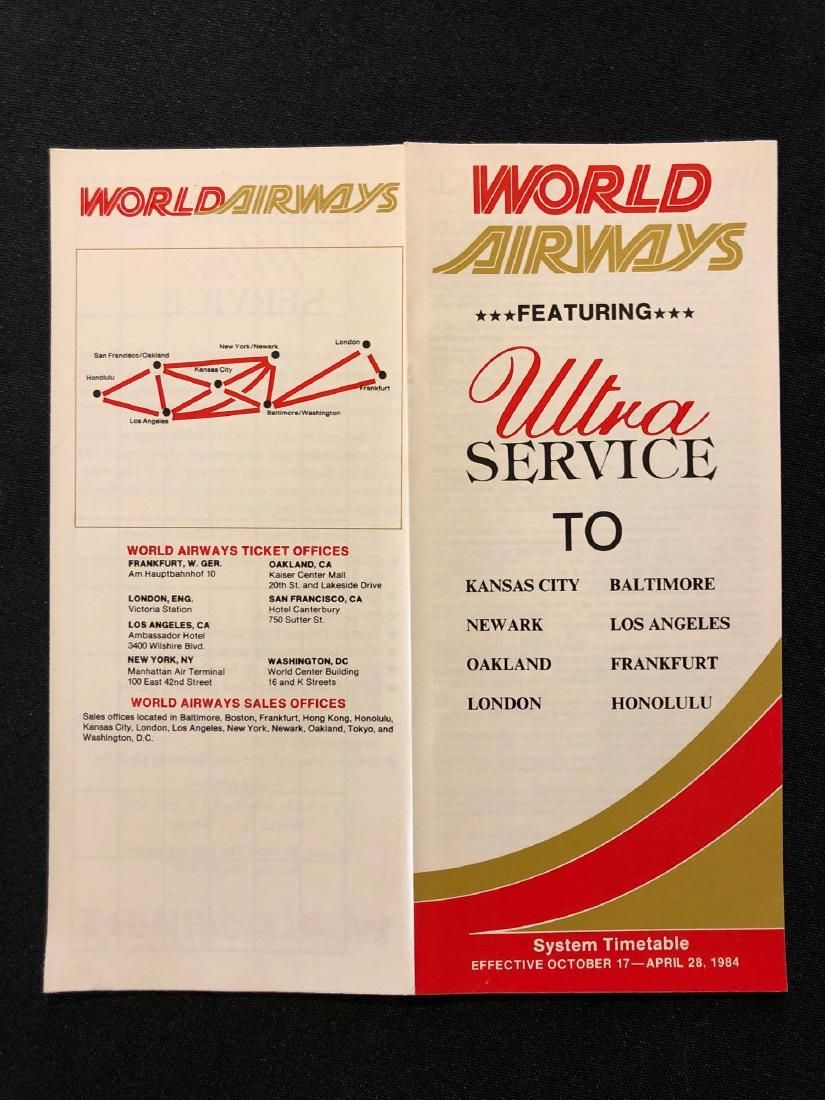 World Airways System Timetable 10/17/84