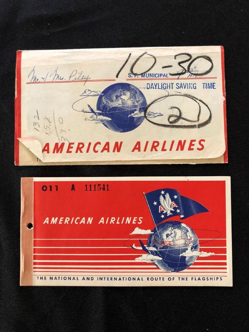 American Airlines 1951 Passenger Ticket Booklet Coupons