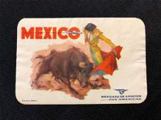 Pan American Airlines Mexico Bullfighter Luggage Sticke