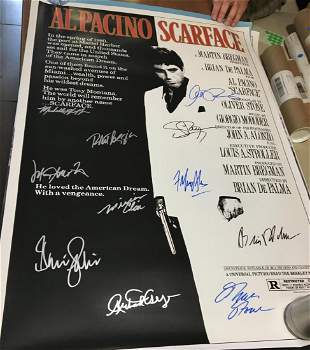 Scarface signed by 11 wCOA Pacino Pfeiffer all