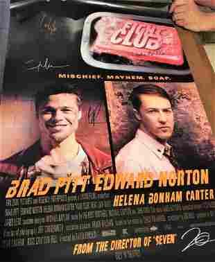 Fight Club signed by 6 wCOA Brad Pitt Edward