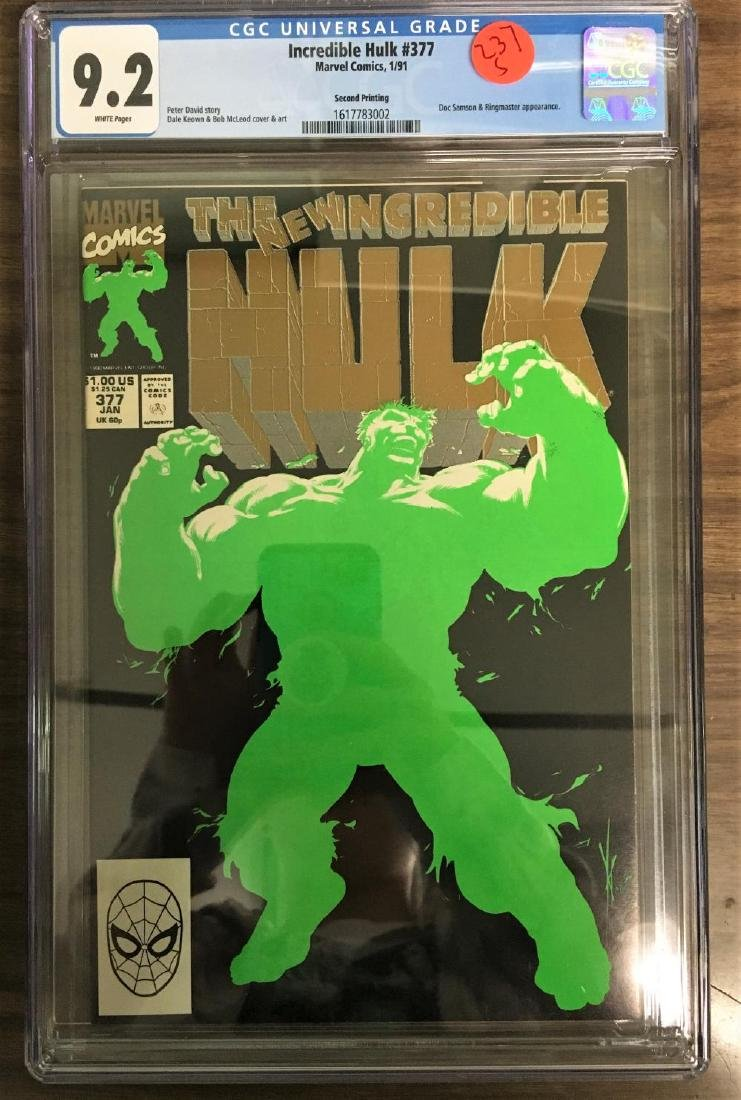 Incredible Hulk #377 CGC 9 2 w/ WHITE Pages Rare 2nd