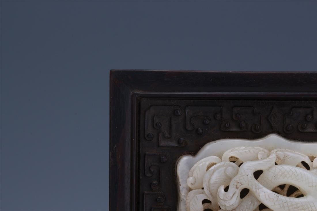 CHINESE PIERCED CARVED WHITE JADE DRAGON INLAID - 3