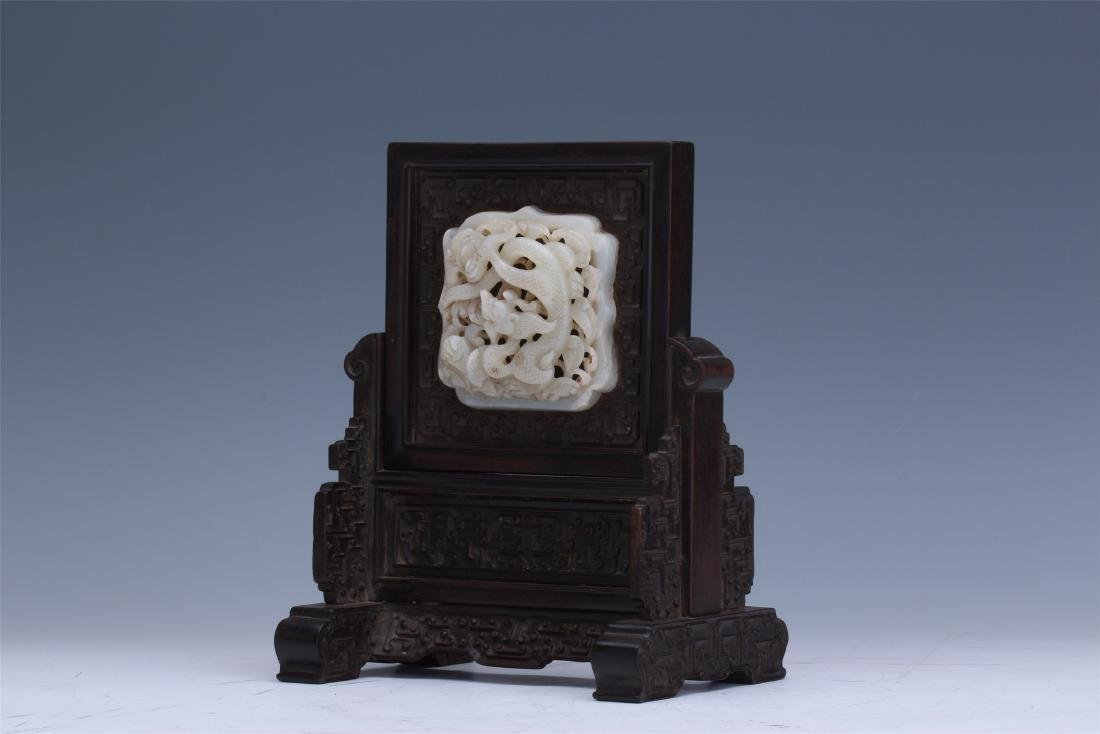 CHINESE PIERCED CARVED WHITE JADE DRAGON INLAID - 5