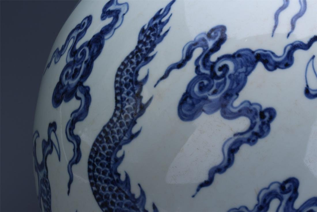 LARGE CHINESE PORCELAIN BLUE AND WHITE DRAGON TIANQIU - 11