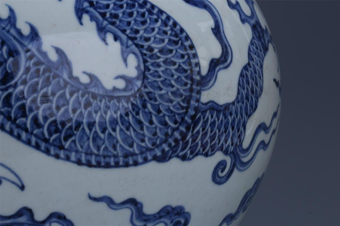 LARGE CHINESE PORCELAIN BLUE AND WHITE DRAGON TIANQIU - 4