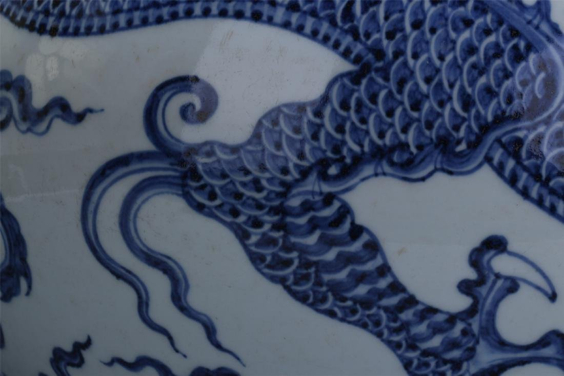 LARGE CHINESE PORCELAIN BLUE AND WHITE DRAGON TIANQIU - 5