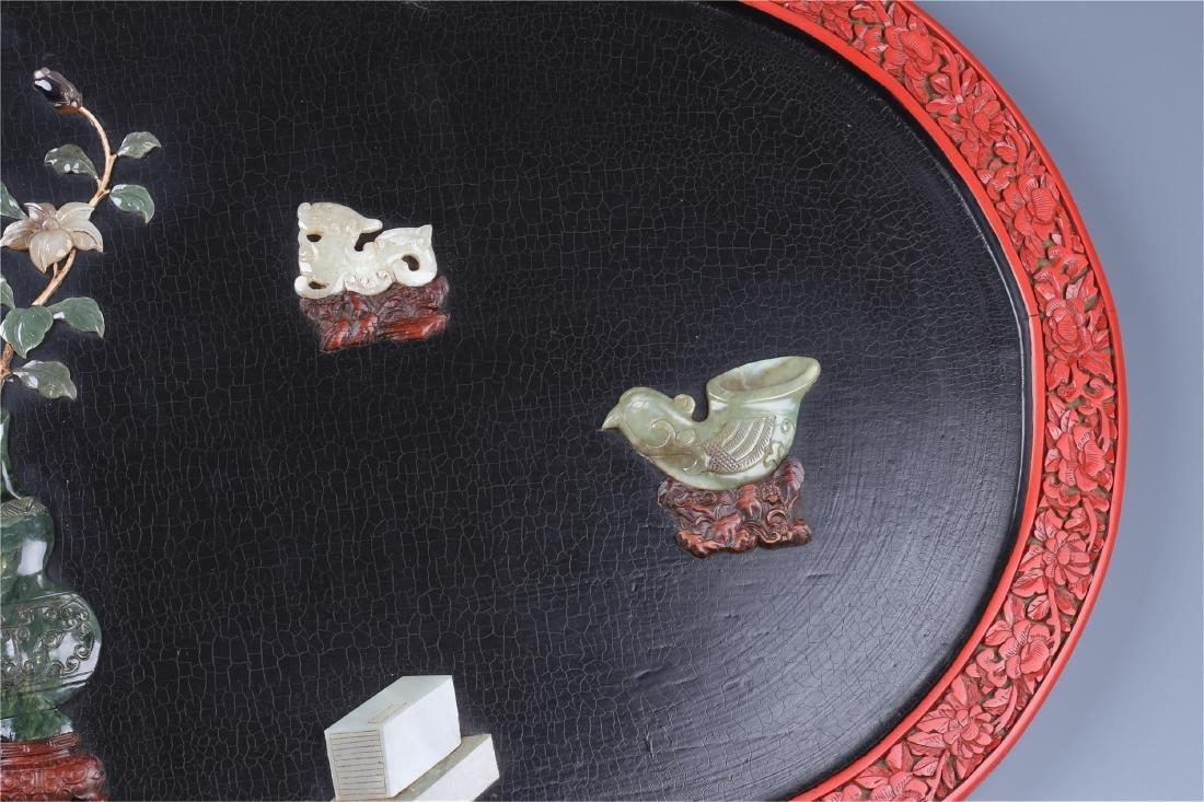 CHINESE GEM STONE INLAID LACQUER CINNABAR WALL SCREEN - 3
