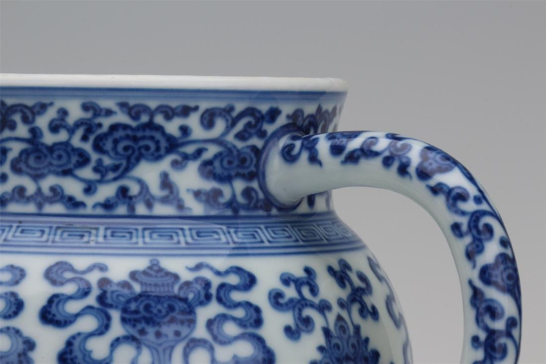 CHINESE PORCELAIN BLUE AND WHITE TRIPLE FEET KETTLE - 4