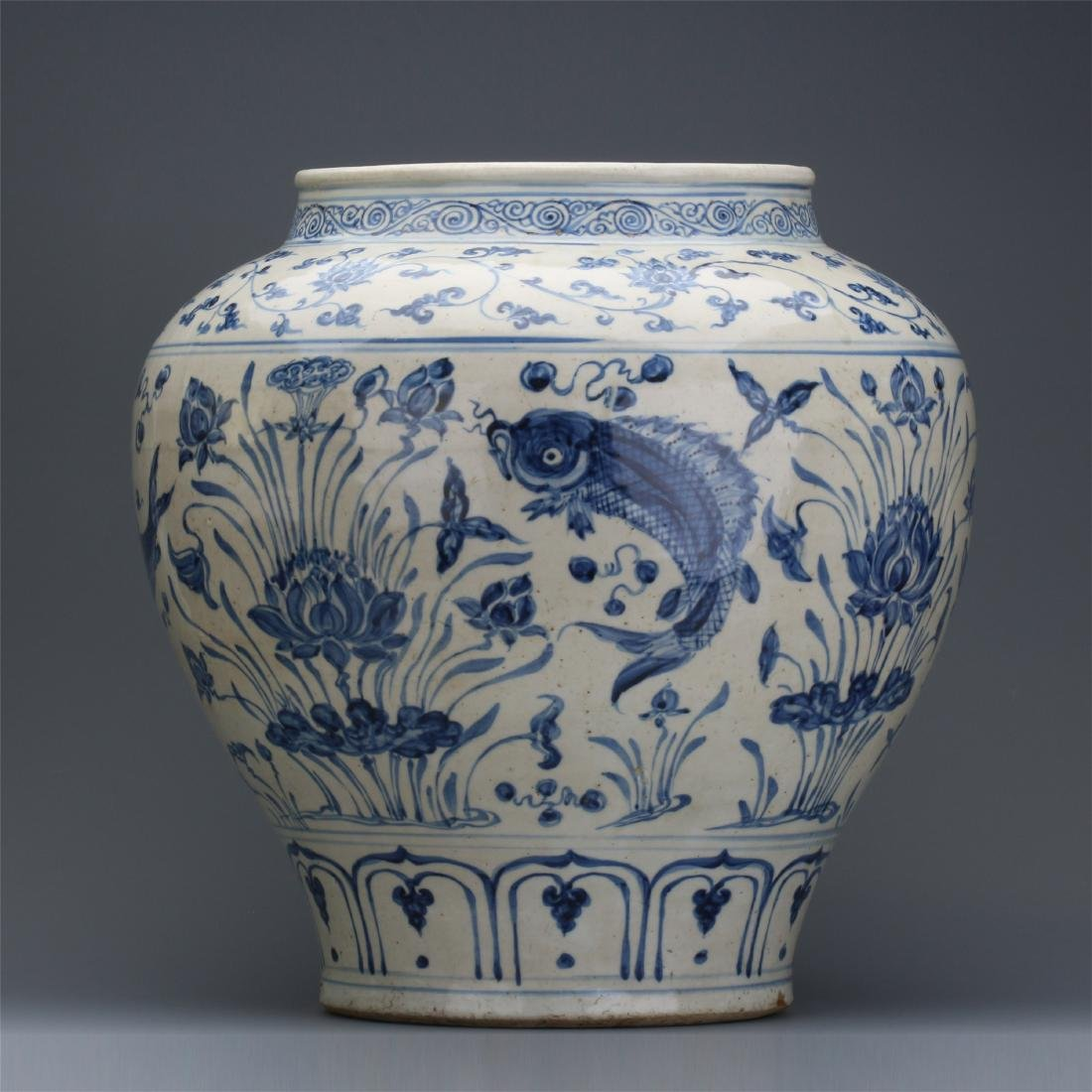 CHINESE PORCELAIN BLUE AND WHITE FISH AND WEED JAR