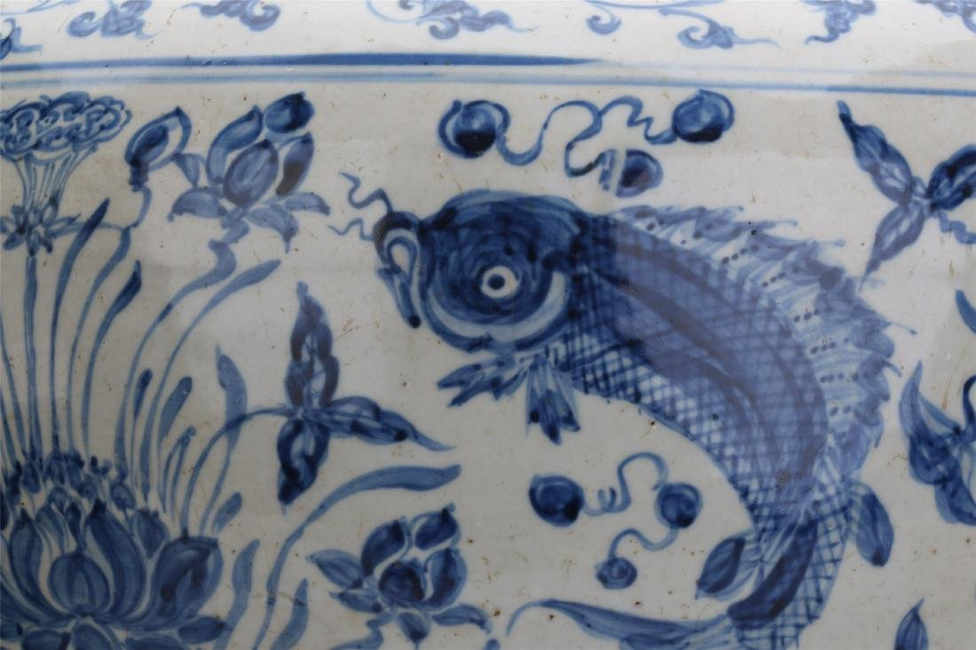 CHINESE PORCELAIN BLUE AND WHITE FISH AND WEED JAR - 3