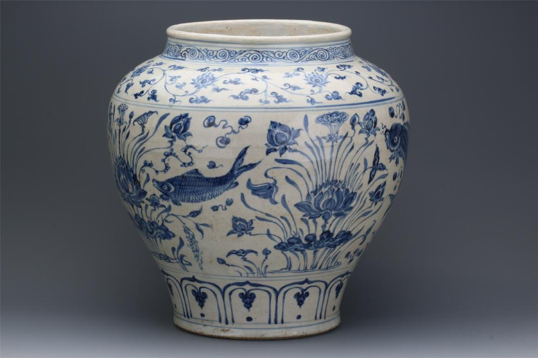 CHINESE PORCELAIN BLUE AND WHITE FISH AND WEED JAR - 6
