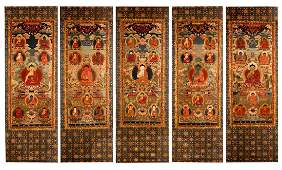 FIVE PANELS OF TIBETAN EMBROIDERY THANGKA OF SEATED