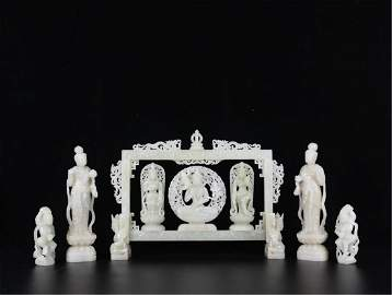 A SET OF CHINESE WHITE JADE STANDING GUANYIN AND BUDDHA