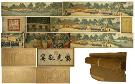 CHINESE HAND SCROLL PAINTING OF PALACE VIEWS WITH
