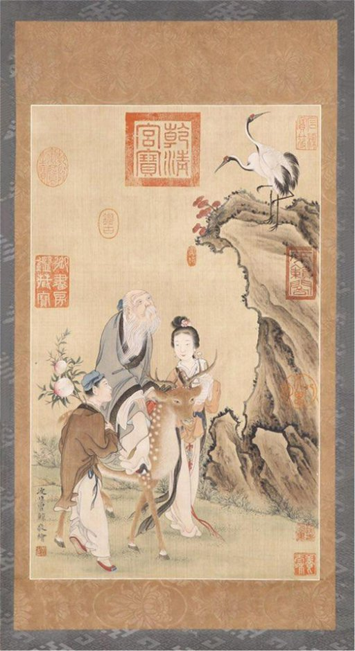 CHINESE SCROLL PAINTING OF OLD MEN ON DEER