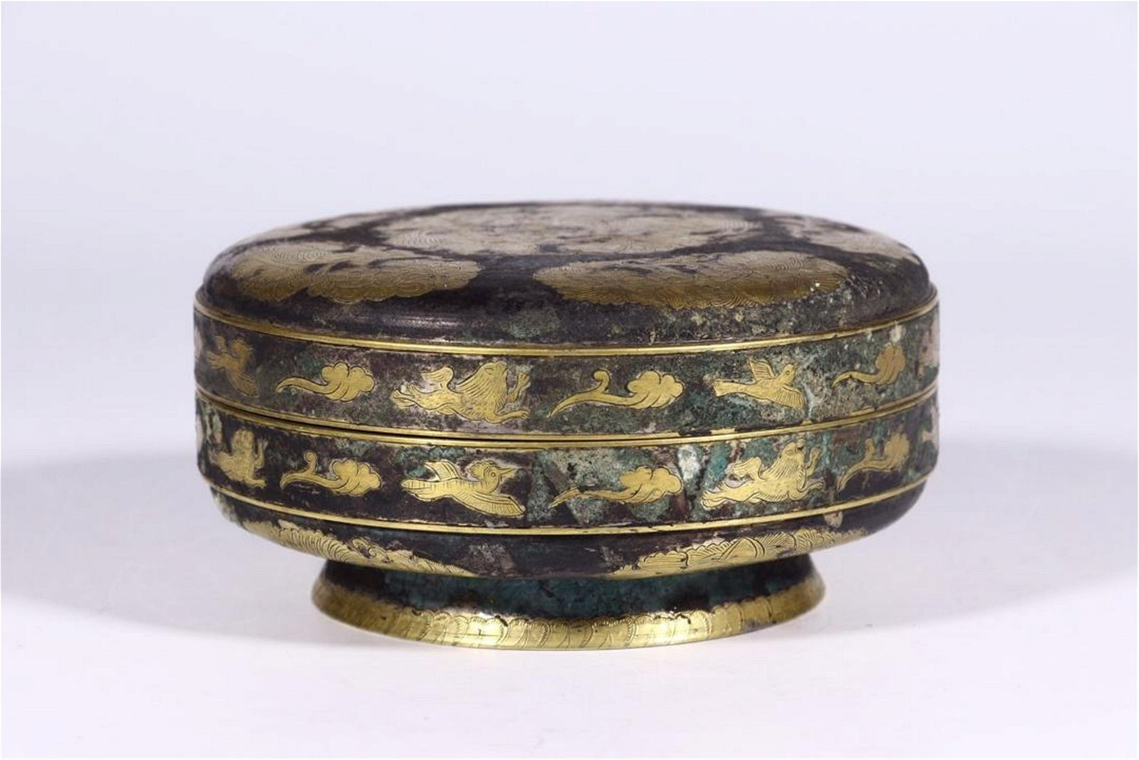 CHINESE GILT SILVER FLOWER AND BIRD LIDDED BOX