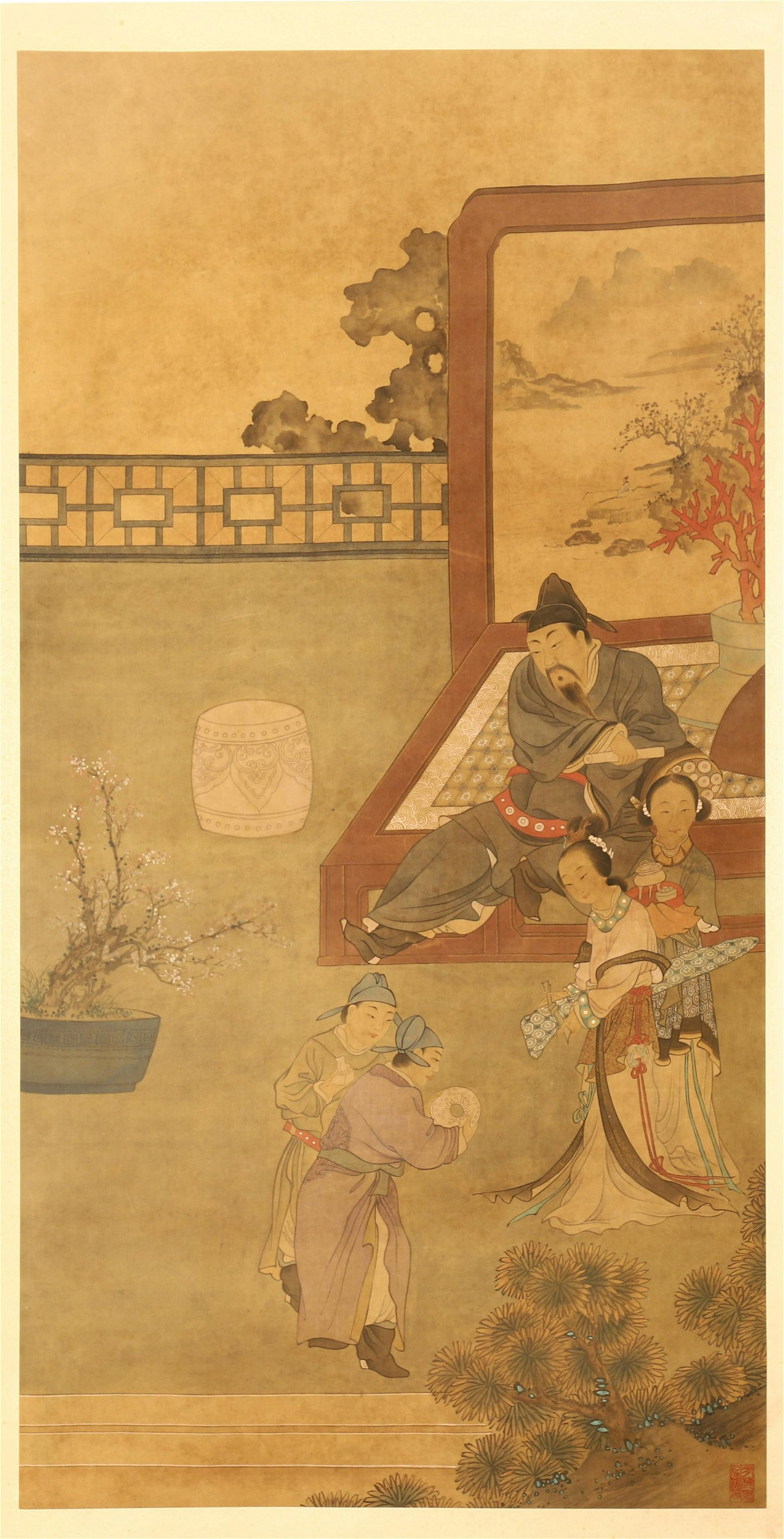 CHINESE SCROLL PAINTING OF MEN IN GARDEN