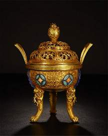 CHINESE GEM STONE INLAID PURE GOLD TRIPLE FEET LIDDED