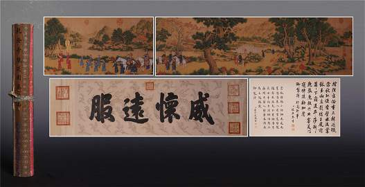 CHINESE HAND SCROLL PAINTING OF MEN IN MOUNTAIN WITH